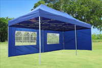 Blue 10'x20' Pop up Tent with 6 Sidewalls - F Model Upgraded Frame
