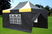 Black Yellow 10'x15' Pop up Tent with 4 Sidewalls - F Model Upgraded Model