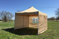 Tan 10'x10' Pop up Tent with 4 Sidewalls - F Model Upgraded Frame