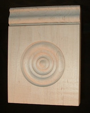 Maple Plinth Block, Victorian Drop with Bullseye