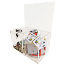 Treat Compartment Clear Acrylic Charity Box