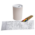 Color-It-Yourself Paper Tube Donation Can With Crayons