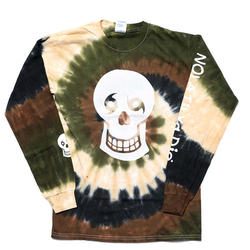 NTYD Big Skull & Words Back Tie Dye Unisex Long Sleeve (Camo)