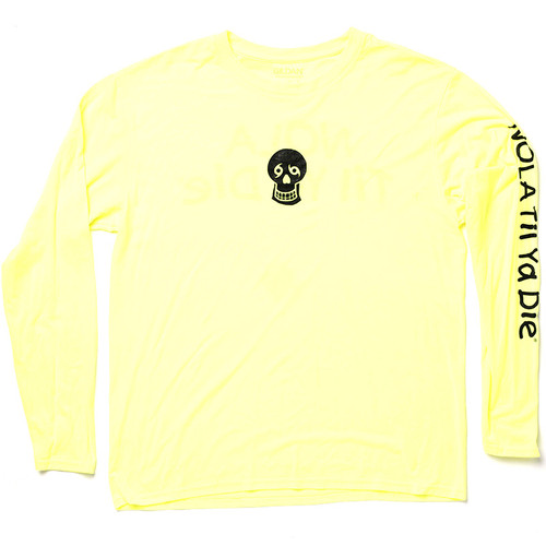 Skull, Words Big Back Performance Long Sleeve (Neon Yellow)