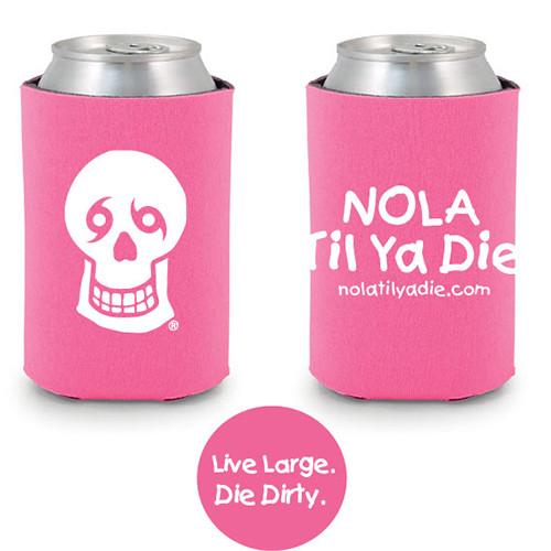 Logo Live Large Die Dirty Koozie (Pink)
