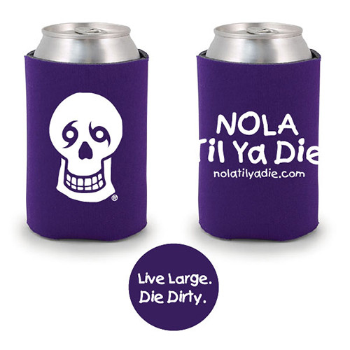 Logo Live Large Die Dirty Koozie (purple)