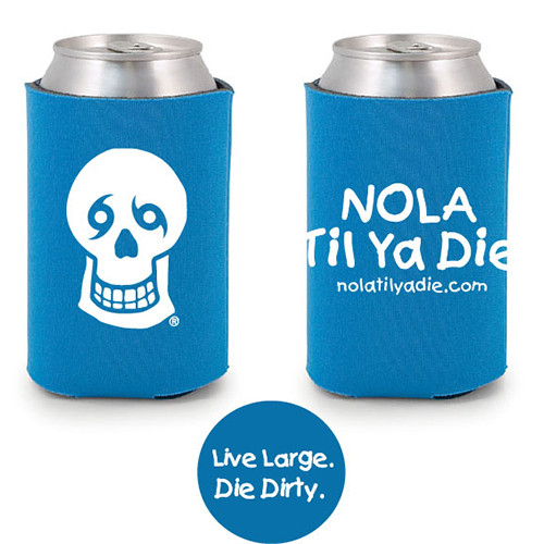 Logo Live Large Die Dirty Koozie (aqua)