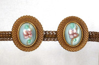 Blue Floral Stone and Brass Mesh Clip Earrings