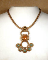 Antique Brass with Green Aventurine, Pink Aventurine, & Brown Cat Eye