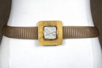 Brass Wire-Knit Belt with Square Buckle