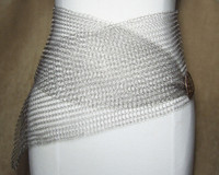 Silver Wire-Knit Wide Wrap Belt