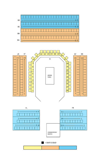 TV Seating - Orange Section  6-Days