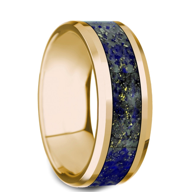 The Amethystos Beveled Polished 14K Yellow Gold Ring with Blue Lapis Lazuli Inlay from Vansweden Jewelers