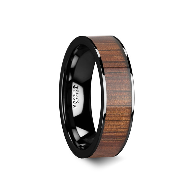 The Amphimachus Polished Black Ceramic Flat Wedding Band with Koa Wood Inlay from Vansweden Jewelers