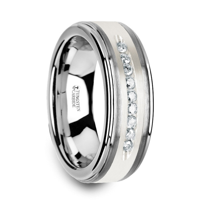 The Zeuxippus Tungsten Wedding Band with Raised Center & Brushed Silver Inlay and 0.27 TCW 9 White Diamonds from Vansweden Jewelers