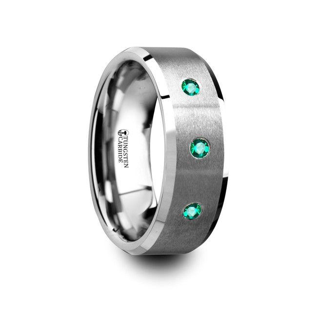 The Periphetes Brushed Tungsten Men's Wedding Ring with Polished Beveled Edges & 3 Emeralds from Vansweden Jewelers