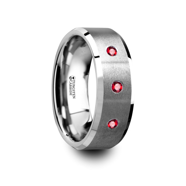 The Cleoboea Brushed Tungsten Flat Wedding Band with Polished Beveled Edges & Rubies from Vansweden Jewelers