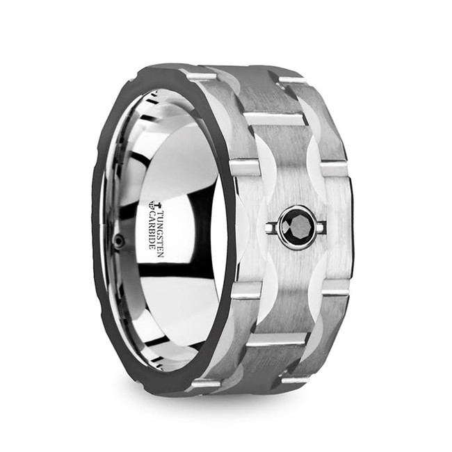The Aethalides Brushed Tungsten Wedding Band with Grooves & Black Diamond from Vansweden Jewelers