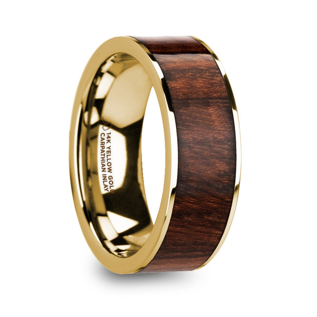 The Demophon Men's 14k Yellow Gold Polished Flat Wedding Ring with Carpathian Wood Inlay from Vansweden Jewelers