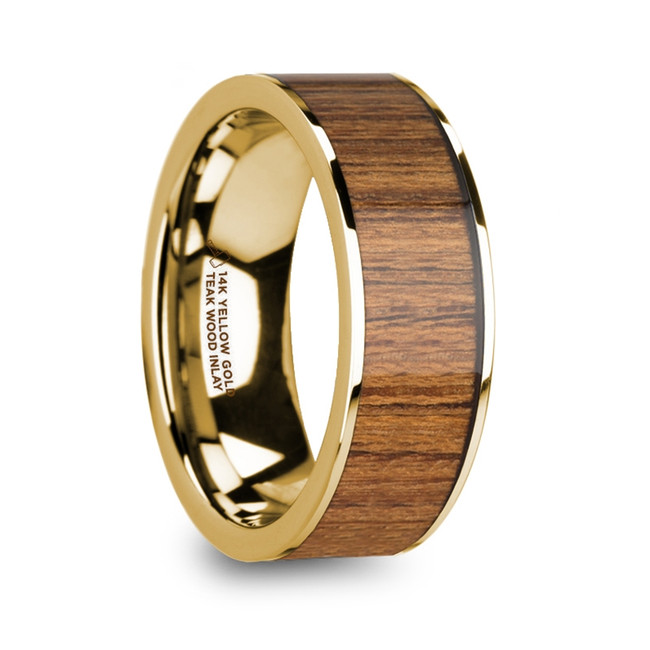 The Aethilla Men's Polished 14k Yellow Gold Wedding Ring with Teak Wood Inlay from Vansweden Jewelers