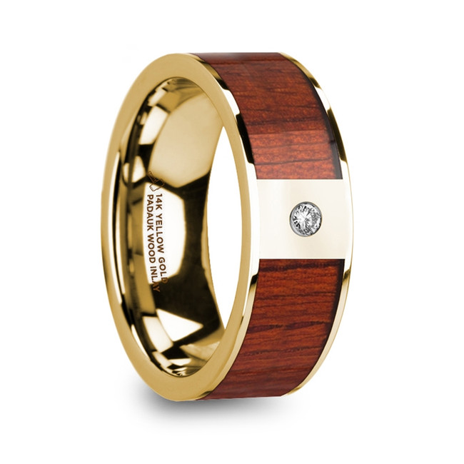The Althaea Men's Polished 14k Yellow Gold Wedding Ring with Padauk Wood Inlay & Diamond from Vansweden Jewelers