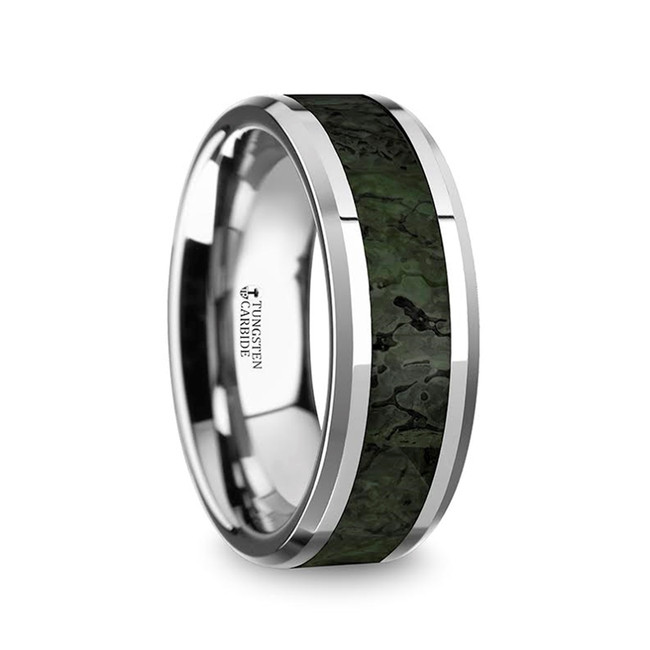 The Stheneboea Men's Tungsten Wedding Band with Dark Green Dinosaur Bone Inlay & Beveled Edges from Vansweden Jewelers