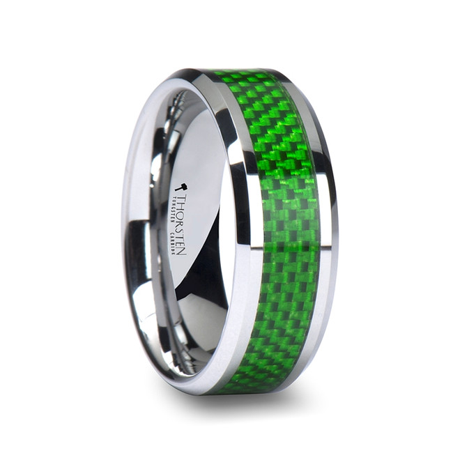 The Perimedes Tungsten Carbide Ring with Emerald Green Carbon Fiber Inlay from Vansweden Jewelers