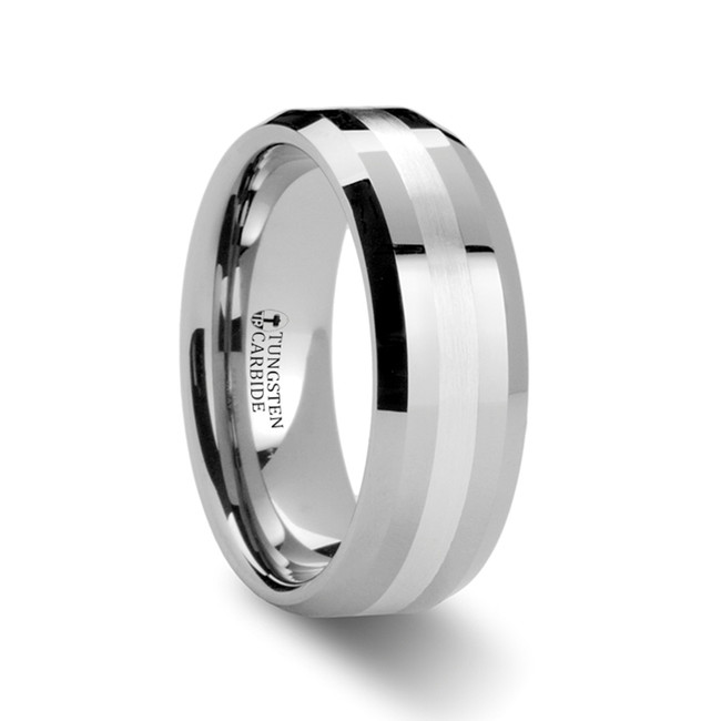 The Demonice Beveled Tungsten Carbide Ring with Silver Inlay from Vansweden Jewelers