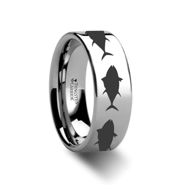 The Budeia Tuna fish Jumping Sea Print Pattern Ring Engraved Flat Tungsten Ring from Vansweden Jewelers