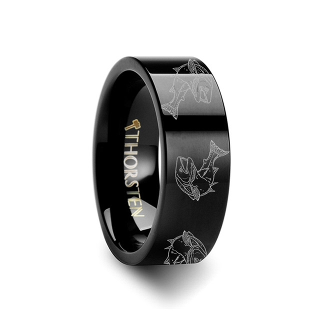 The Pandaie Trout Fish Jumping Sea Print Pattern Ring Engraved Flat Black Tungsten Ring from Vansweden Jewelers