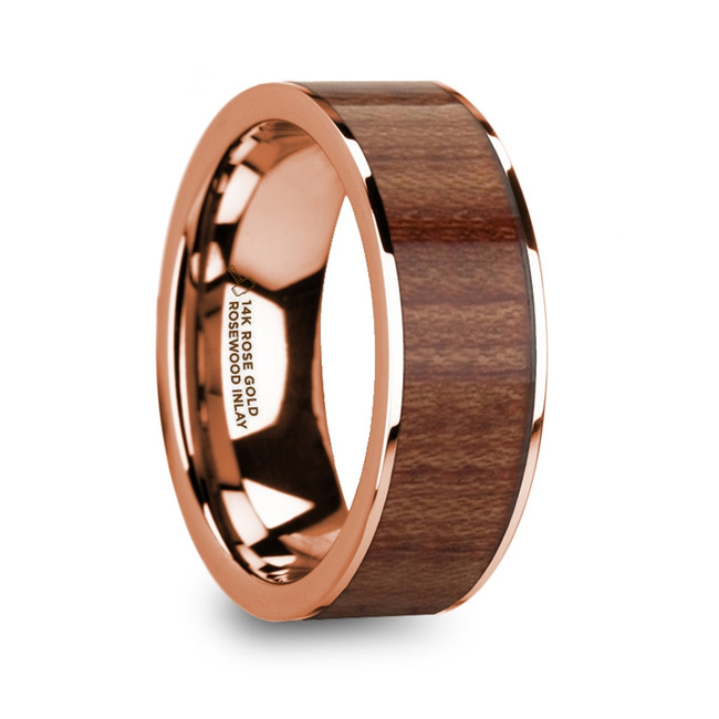 The Coeranus 14k Rose Gold Men's Wedding Band with Rosewood Inlay & Polished Finish from Vansweden Jewelers