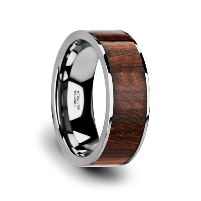 The Baucis Flat Carpathian Wood Inlaid Tungsten Carbide Ring with Polished Edges from Vansweden Jewelers