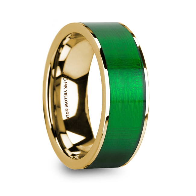 The Ancaeus Men's Polished 14k Yellow Gold Flat Wedding Ring with Textured Green Inlay from Vansweden Jewelers