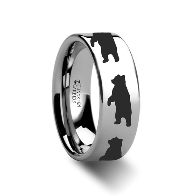 The Aglaulus Standing Bear Print Ring Engraved Flat Tungsten From Vansweden Jewelers