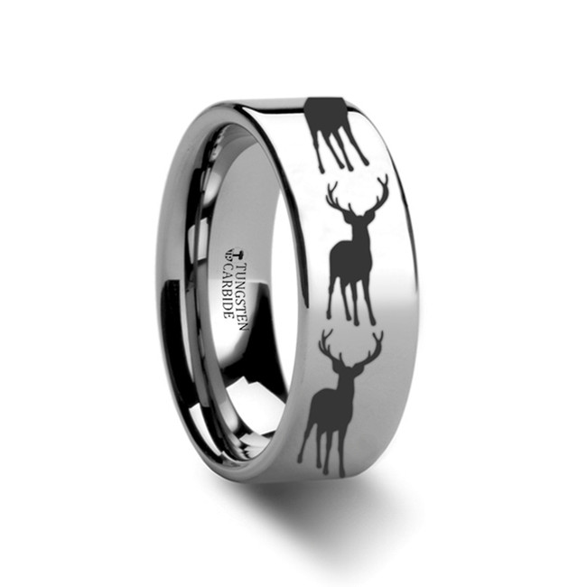 The Alcmene Stag Fawn Deer Elk Print Ring Engraved Flat Tungsten Ring from Vansweden Jewelers