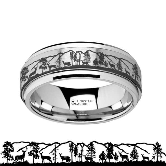 The Thestor Spinning Engraved Roaming Deer Stag Tungsten Carbide Spinner Wedding Band from Vansweden Jewelers