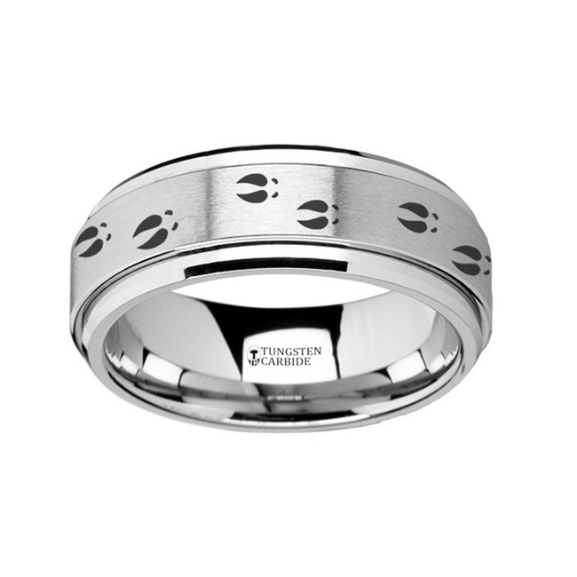 The Androgeus Spinning Engraved Deer Tracks Tungsten Carbide Spinner Wedding Band from Vansweden Jewelers