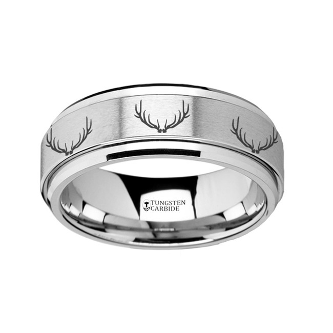 The Autonoe Spinning Engraved Deer Antlers Tungsten Carbide Spinner Wedding Band from Vansweden Jewelers