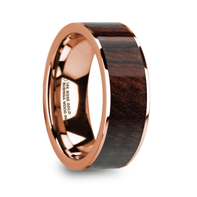 The Carystus 14K Rose Gold Men's Flat Wedding Ring with Bubinga Wood Inlay from Vansweden Jewelers