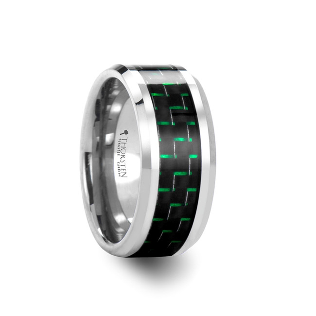 Laodamas Tungsten Carbide Ring with Black & Green Carbon Fiber Inlay from Vansweden Jewelers