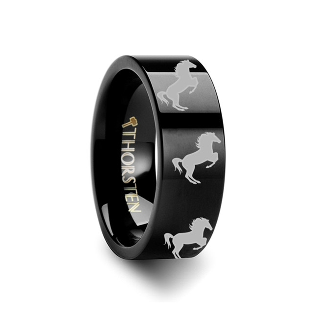 Andreus Horse Hind Legs Engraved Flat Black Tungsten Ring from Vansweden Jewelers