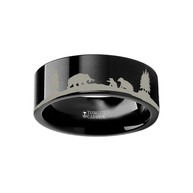 Thero Landscape Scene with Bears Engraved Flat Black Tungsten Ring from Vansweden Jewelers