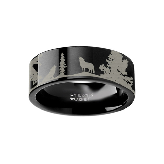 Ctesylla Landscape Scene Wolves Engraved Flat Black Tungsten Ring from Vansweden Jewelers