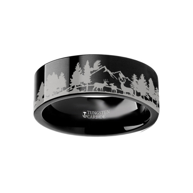 Thymoetes Scene with Deer and Mountain Range Engraved Flat Black Tungsten Ring from Vansweden Jewelers