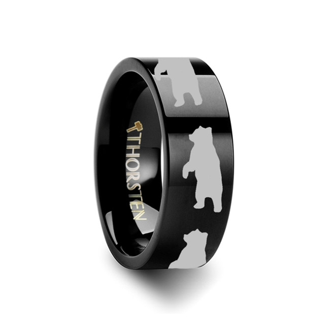 Epidaurus Bear Engraved Flat Black Tungsten Ring from Vansweden Jewelers