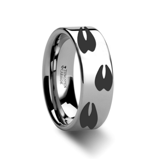Euchenor Deer Track Engraved Flat Tungsten Ring from Vansweden Jewelers
