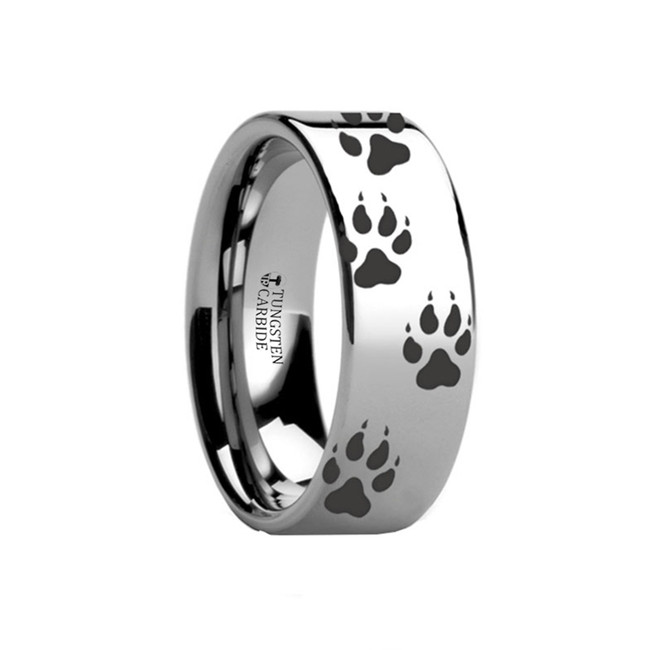 Baubo Wolf Track Engraved Flat Tungsten Ring from Vansweden Jewelers