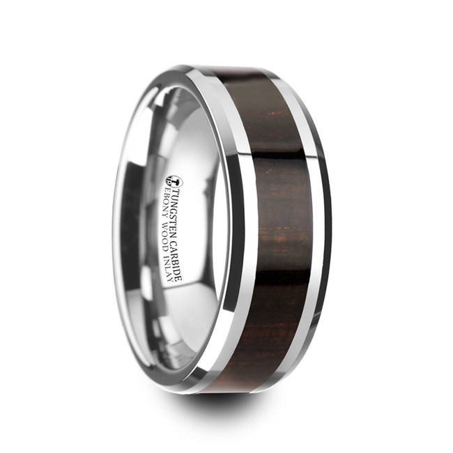 Autolycus Ebony Wood Inlaid Tungsten Carbide Ring with Bevels from Vansweden Jewelers