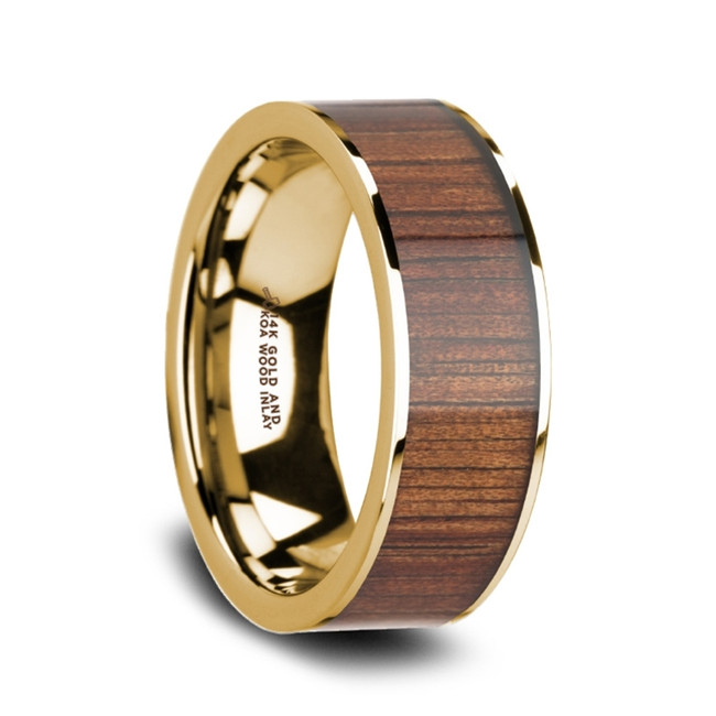 Eurymachus 14K Pipe Cut Yellow Gold Ring Wedding Band with Rare Koa Wood Inlay and Polished Edges from Vansweden Jewelers