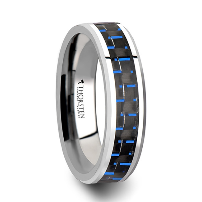 Eurylochus Black & Blue Carbon Fiber Inlay Tungsten Carbide Ring from Vansweden Jewelers